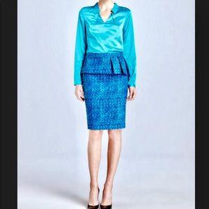 T Tahari Austen Pleated Peplum Pencil Skirt